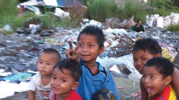 Boys in the garbage village in Mae Sot.