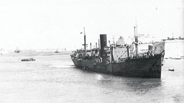 A merchant ship of the Convoy Operation Halberd in Grand Harbour after its arrival on September 28, 1941.