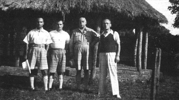 Herbert Ganado and Enrico Mizzi (second and third from left) flanked by fellow Maltese internees Charles Formosa (left) and Emanuel Cossai at the internment camp at Uganda.