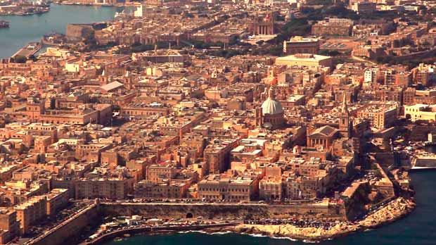 An aerial view of Valletta.