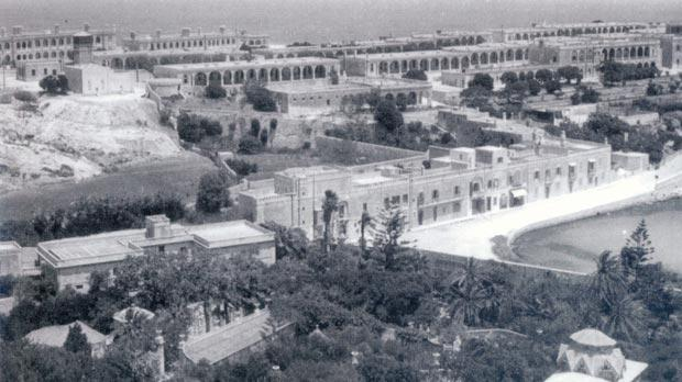 St George's Barracks circa 1900 with Moynihan House, CoE Vicarage and Villa Rosa in the foreground. Photo: Kevin Borg