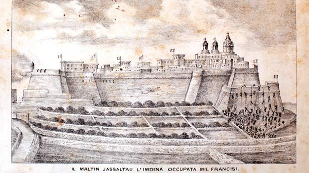 Lithographs and captions from Castagna's history book on Malta: The Maltese assault on Mdina occupied by the French. Photos: Darrin Zammit Lupi, by courtesy of the National Library.