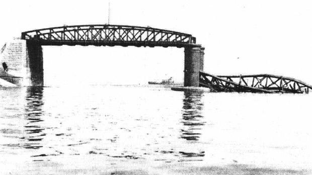 The Fort St Elmo Bridge after it was partially destroyed during the attack.