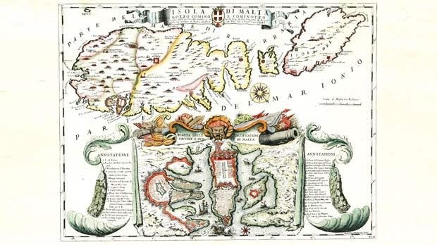 A 17th century map showing the Maltese Islands in Greek waters, namely in the Ionian Sea (private collection).