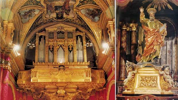 The organ loft of St Paul Shipwrecked collegiate church in Valletta. Right: Melchiorre Gafà's statue of St Paul, which is carried in procession through the streets of Valletta on his feast day.