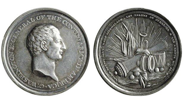 Silver medal coined by Benjamin Franklin in France in 1778 – it could be the medal Franklin sent Grand Master de Rohan in 1783 from Paris.