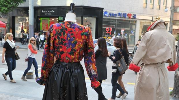 Designer clothes on display at a high-end fashion street in the Gangnam district of Seoul.