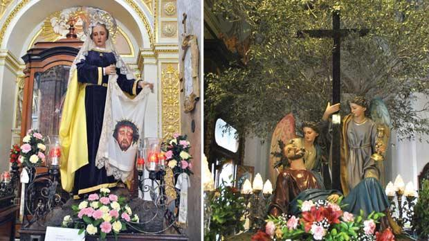 Vittoriosa: the statue of the Veronica wiping Christ's face. Right: Cospicua: the agony in the garden.