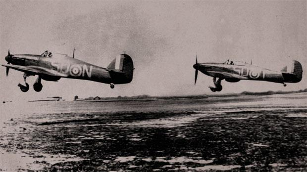 July 20 1940 Two RAF Hawker Hurricane MK1 Fighters From 79 Squadron Taking