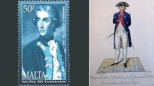 The 50c stamp purportedly depicting Emmanuele Vitale. Right: A portrait by V. Fenech of the Knight Commander and Governor of Fort Tigné, wearing the artillery uniform.