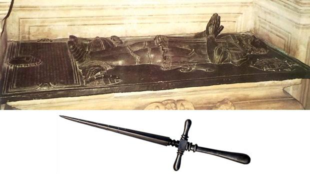Bronze coverlet on Grand Master de Valette's sarcophagus in the crypt of St John's Co-Cathedral and a stiletto, very likely the weapon Stefano Buonaccorsi used to murder the Grand Master's daughter on July 31, 1568.