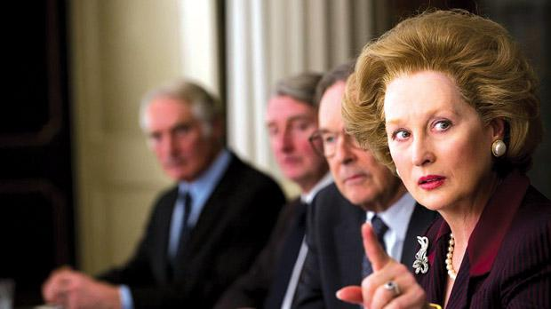 Meryl Streep portrays Baroness Margaret Thatcher's life and career in The Iron Lady.