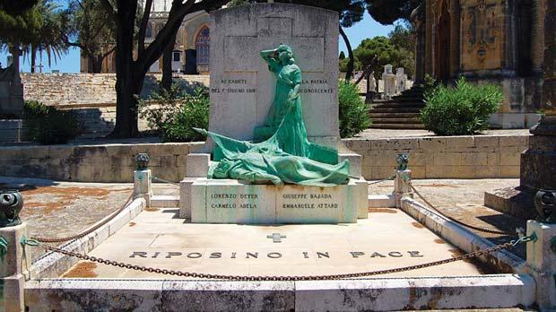 The funerary monument designed by Gianni Vella in 1925 at the Addolorata cemetery, Paola, in the memory of the four men killed during the Sette Giugno riots.