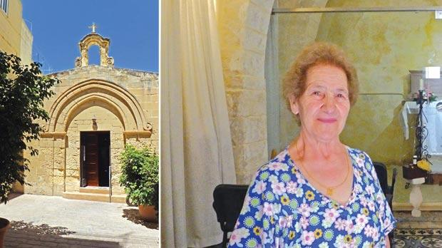 The charming medieval chapel dedicated to San Bert in St Bartholomew Street, Rabat. Right: San Bert chapel was restored and reopened thanks to a number of unsung heroes such as Nina Micallef.