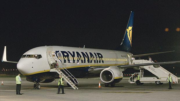 Ryanair's first flight to Malta on the night of October 31, 2006.