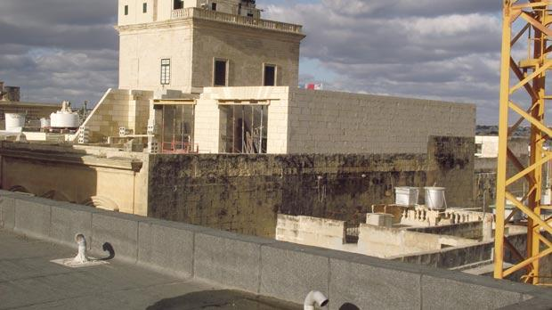 A photo of an irregular structure on the roof level of Mr Xuereb's hotel.