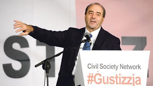 Antonio Di Pietro addressing yesterday's demonstration organised by the Civil Society Network in Valletta. Photo: Matthew Mirabelli