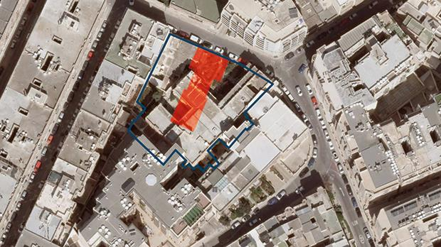 The proposed public open space (highlighted) will cut through part of the existing villa. Graphic: Design Studio
