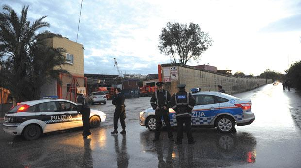 Police at the Ħal-Farruġ site owned by the Polidano Brothers. Photo: Jason Borg