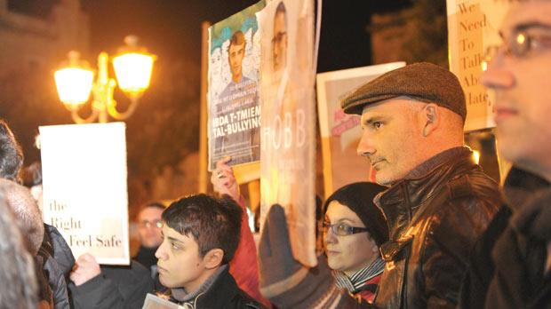 Protesters in Ħamrun, last month, calling for amendments to hate crime laws. Photo: Jason Borg