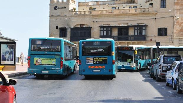 Arriva buses, seen here in St Julian's, may be joined by buses provided by Transport Malta if the service does not improve.