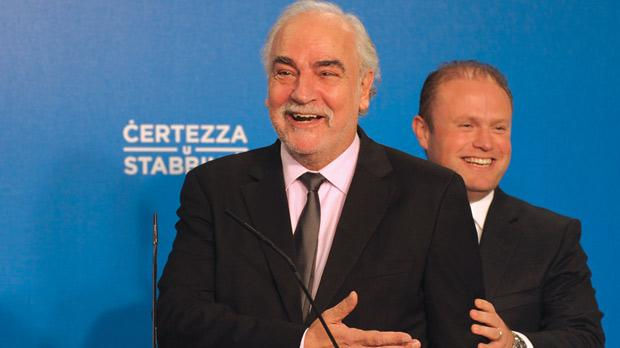 Louis Grech and Joseph Muscat (right) yesterday. Photo: Matthew Mirabelli