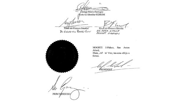 The pardon document signed by the President, the Prime Minister, the Attorney General and a witness.