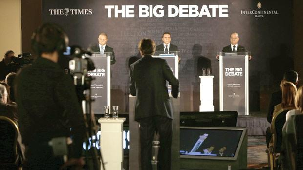 The three leaders on stage during the debate last night, moderated by Herman Grech from The Times. Photo: Darrin Zammit Lupi