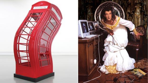 Telephone box sculpture: Emanuel Bonnici, Self-portrait (right): Phil Sayers