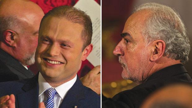 Prime Minister Joseph Muscat. Right: Deputy Prime Minister and outgoing MEP Louis Grech will serve as EU Affairs minister.