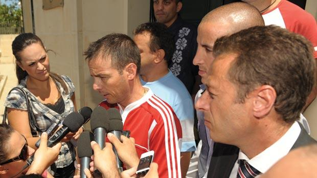 Lawrence Grech addressing the press after the victims' first meeting with Curia officials. Photo:Matthew Mirabelli