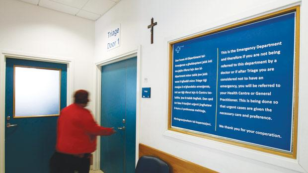 A poster at Emergency's main waiting area informs patients of the new policy.