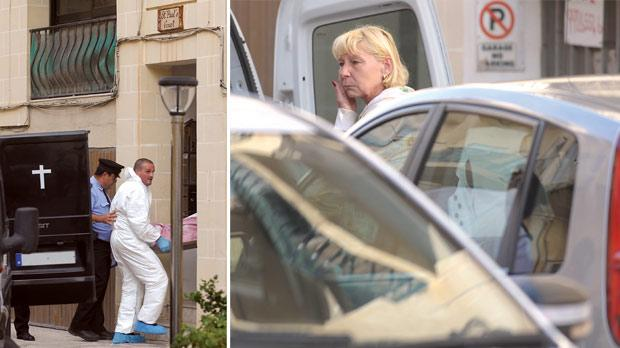 The body of the 38-year-old Hungarian woman being taken out of her St Paul's Bay apartment yesterday. Right: This Hungarian woman who also lived in the flat reportedly witnessed the crime. Photos: Matthew Mirabelli