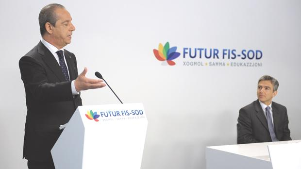 Prime Minister Lawrence Gonzi announcing the highlights of the Nationalist Party's electoral programme yesterday, as deputy leader Simon Busuttil looks on. Photo: Matthew Mirabelli