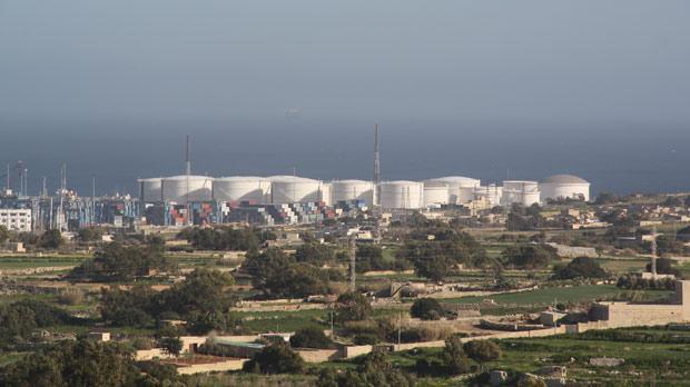 The oil storage tanks at Birżebbuġa.