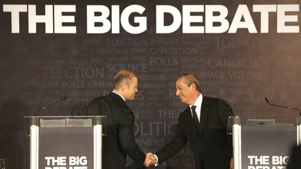 Lawrence Gonzi and Joseph Muscat after the debate organised by The Times at the Intercontinental Hotel. Photo: Darrin Zammit Lupi