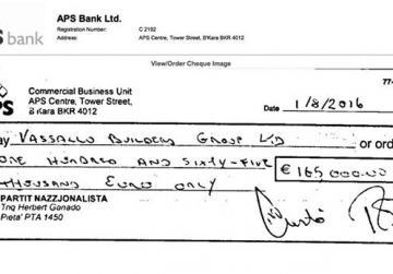PN publishes Vassallo loan repayment cheque