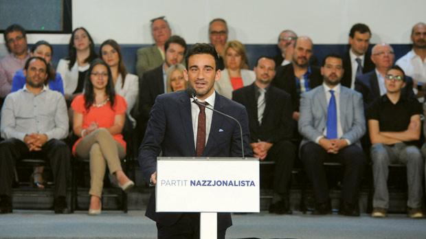 Gianluca Bezzina speaking at the PN general council on Sunday.