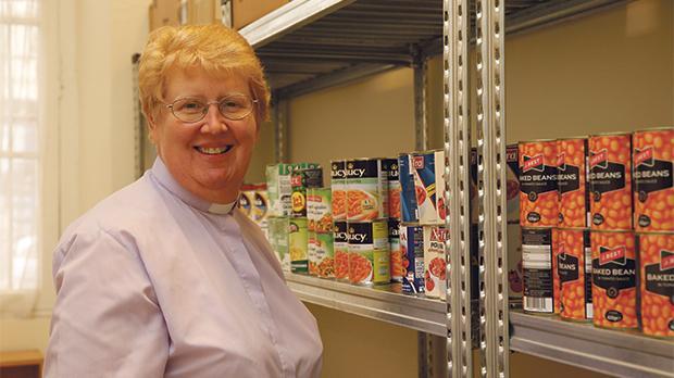 Rev. Kim Hurst at her foodbank in Valletta. Photo: Darrin Zammit Lupi