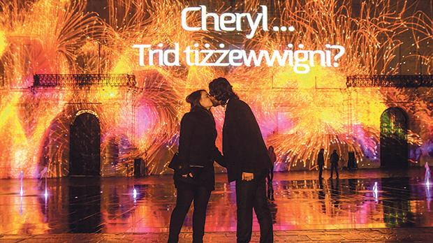 Bertu Aquilina and Cheryl Tonna's special moment in front of Palace projections. Photo: Jonathan Borg