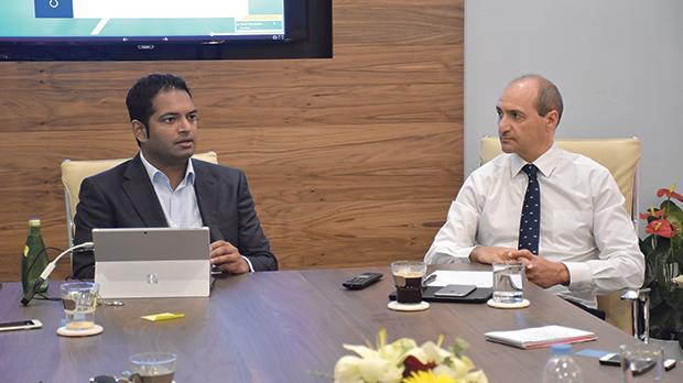 Vitals director Ram Tumuluri and Health Minister Chris Fearne