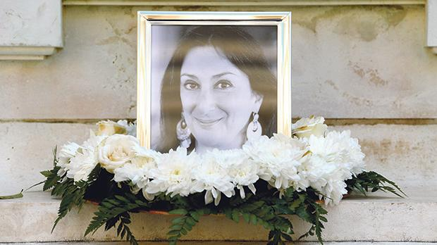 The memorial in Valletta to Daphne Caruana Galizia. Photo: Matthew Mirabelli