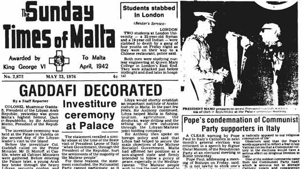 A copy of The Times showing Col Gaddafi being given the honour, and right the colonel being greeted by then President Anthony Mamo.