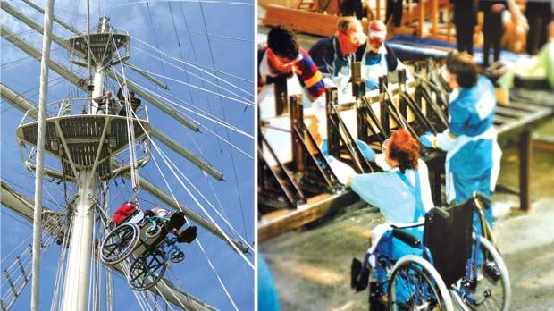 Being in a wheelchair is no excuse for avoiding ship duties! Right: Disabled volunteers helped build the ship. Photos: Jason Borg and Jubilee Sailing Trust
