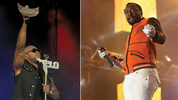 Flo Rida made a spectacular entrance on stage. Photos: Matthew Mirabelli. Right: The multi-talented Will.i.am stole the show, confirming his top billing.