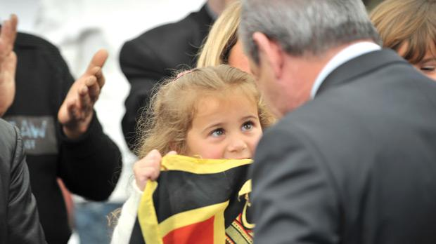 A young supporter greets the Prime Minister in Senglea yesterday. Photo: Jason Borg