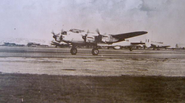 The last operational MR Lancaster of the RAF takes off from Luqa in 1954.
