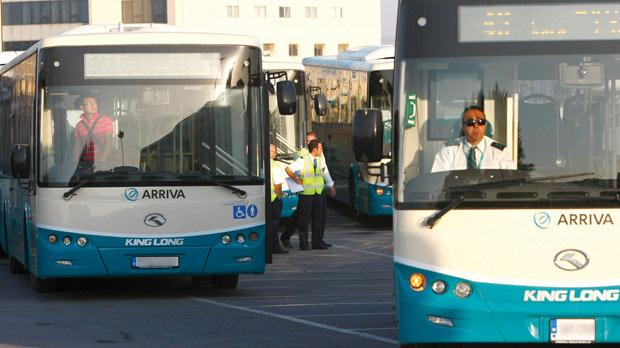 The sun rose on a new era in Malta's public transport history yesterday as the new operator, Arriva, started offering its services. Photo: Darrin Zammit Lupi