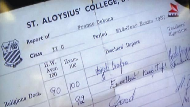 A grab from the PBS news bulletin shows Franco Debono's secondary school report.