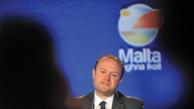 Labour leader Joseph Muscat delivers his party's eight proposals. Photo: Chris Sant Fournier